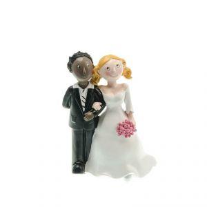 Chaks 80176 - Figurine en résine Couple de mariés Black man & White girl (15 cm)