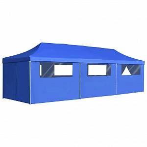 VidaXL Tente de réception pliable avec 8 parois 3x9 m Bleu