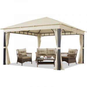 Intent24 TOOLPORT Pavillon de Jardin 4x4m ALU Premium env. 220 g/m² bâche imperméable pavillon 4 côtés Tente de Jardin Champagne