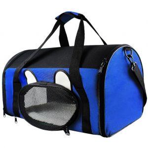 Todeco Sac de Transport pour Animaux, Sac pour Chats et Chiens, 50 x 31 x 29 cm, Bleu, Matériau: Mesh material, Polyester