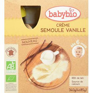 BabyBio Gourde Crème semoule vanille 4 x 90 g - dès 6 mois