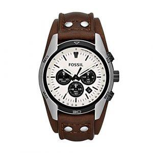 Fossil Bracelet de montre CH-2565 Cuir Brun foncé 22mm (SEULEMENT LE BRACELET DE MONTRE - MONTRE NON INCLUE!)