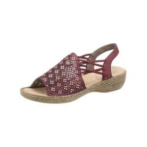 Rieker 658B2 Femme Sandale à lanières,Sandales à lanières,Chaussures d'été,Confortables,wine/35,36 EU / 3.5 UK