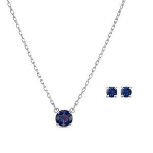 Swarovski SET 5536554 - Set Collier et boucles d'oreilles Métal Argenté Cristal Bleu Rond Femme