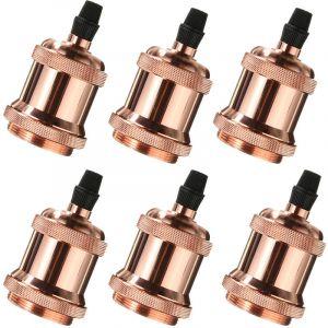 Axhup Lot de 6 Douille E27 Spirale Edison LED Adaptateur de Lampe DIY Vintage Retro pour Lustre Suspension plafonnier, Or rose