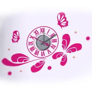 Horloge murale sticker Design Pink butterflies