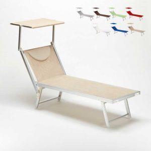 Beach and Garden Design Bain de Soleil transat Chaise longue lit de plage professionel aluminium SANTORINI | Beige
