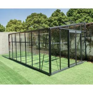 Serre adossée 13,71m² LUXE en al ini anthracite et verre trempé 4mm Green Protect