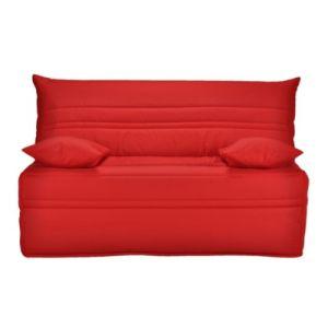 Banquette BZ tissu rouge matelas 140x190 Sofaflex mousse