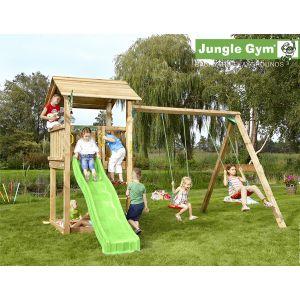 Jungle Gym Kapali - Aire de jeux en bois + toboggan - 7 enfants