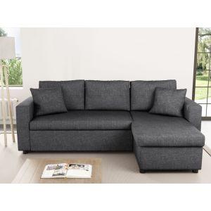 LesTendances USINESTREET Canapé d'Angle MARIA Réversible et Convertible avec Coffre en tissu gris