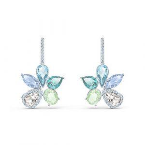 Swarovski Boucles D'oreilles 5518416 - Boucles d'oreilles métal argenté fleur sertis blancs et bleus Femme