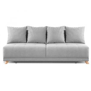 DUVAL Banquette convertible 3 places - Tissu gris clair - Style scandinave - L 192 x P 93 cm - Convertible + coffre - 3 places - Tissu 100% polyester - Scandinave - L 192 x P 75 cm - Ferme