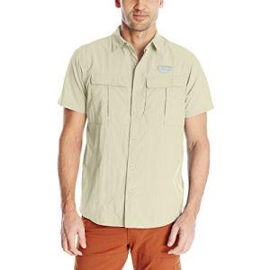 Columbia Chemise de Randonnée à Manches Courtes Homme, Cascades Explorer Short Sleeve Shirt, Nylon, Kaki (Fossil), Taille: L, AM9156