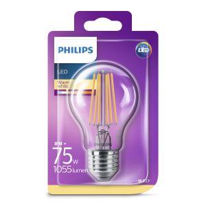 Philips Ampoule standard filaments LED 8W-75W E27, blanc chaud, intensité invariable