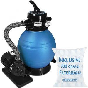 Monzana Pompe filtre à sable 10,2 m³ système filtration eau piscine 450W IPX5 boules filtrantes 700g inclus vanne 4 voies fonctions bassin