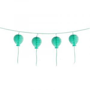 Guirlande boules en papier alveolées Happy Birthday turquoise pastel Taille unique