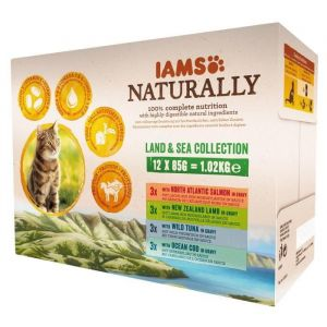 IAMS Naturally Humide Terre & Mer en sauce pour chat adulte