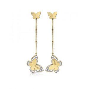 Guess Boucles d'oreilles LOVE BUTTERFLY UBE78017 - Boucles d'oreilles acier doré pendantes papillons Cristaux Swarovski