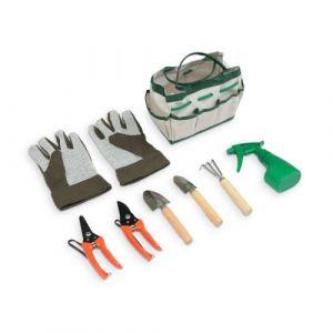 Alice's Garden Sacoche d'outils de jardinage avec gants, râteau, mini pelle, transplantoir, sécateur, cisaille, pulvérisateur