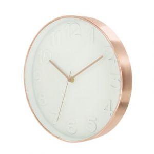 Horloge ronde Blanc cuivré D 30 5 cm AC DÉCO
