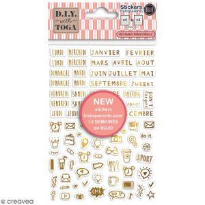 Toga Stickers Bullet Journal dorés transparents, Or, taille unique