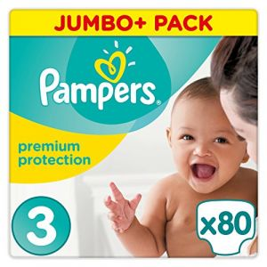 Pampers Premium Protection - Couches Taille 3 (5-9 kg) - Jumbo+ Pack x80