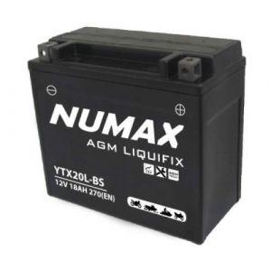 Numax Batterie moto Premium AGM avec pack acide YTX20L-BS 12V 18Ah 270A