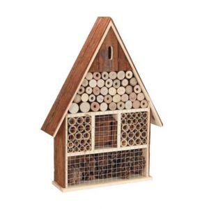Perel Hôtel à insectes en bois avec toit en écorce (grand)