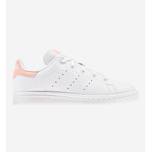 Adidas Stan Smith Cursive Logo cuir Enfant-31-Blanc Rose