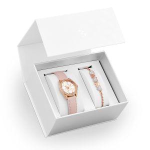 Guess Coffret montre en cuir avec cristal et bracelet - rose