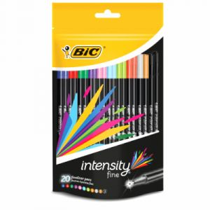 Bic Feutres d'écriture Intensity - pochette de 20 - couleurs vives