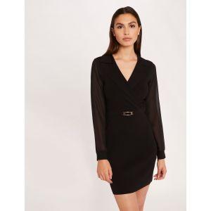 Morgan Robe Manches Longues Transparentes RMSTARA Casual Dress, Noir, L Womens