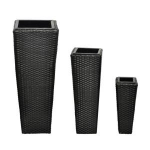 VidaXL 40534 - 3 cache-pots en résine tressée 3 tailles