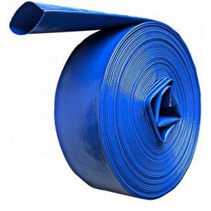 DCRAFT   Tuyau plat refoulement 50 M Diamètre 2   Tuyau enroulable pour motopompe distribution l'eau claire sale fosse septique   Bleu TROUV