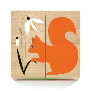 Djeco Nature et Co - Puzzle cube en bois 4 pièces