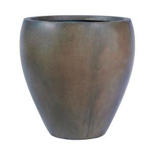 Pot rond bombé lisse 28,5 x 28,5 x 30 cm Marron glace