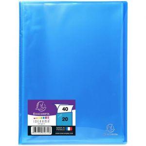 Exacompta Protège documents soude - 210 x 297 mm - 40 vues Pochettes cristal lisses - Polypropylène lisse 5/10 ème - Bleu Turquoise