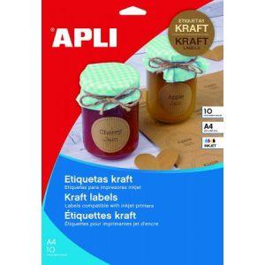 APLI 17376 - 10 étiquettes kraft, format 210 x 297 mm (10 feuilles / cdt)