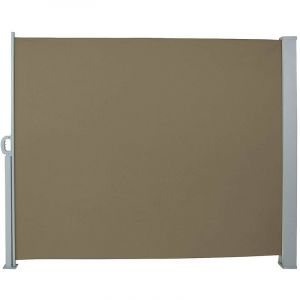 Auvent store latéral brise-vue abri paravent soleil aluminium rétractable hauteur 200 cm longueur 300 cm marron
