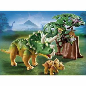 Playmobil 5234 Dinos - Tricératops et son petit avec arbre