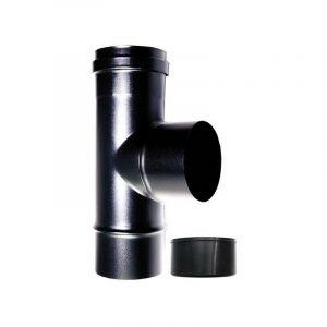 MBM Chaudière tee raccord 90 ° fm-m dn 100 mm pour poêle à pellets ou d'un tube en acier émaillé noir de bois 600 degrés CE fabriqués en Italie