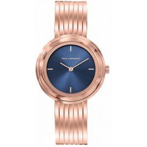Ted Lapidus Montre A0743UDIW - Montre Acier Doré Rose Cadran Bleu Femme
