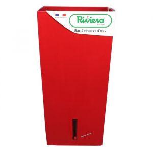 Riviera Pot plastique à réserve d'eau L.28 x l.28 x H.52 cm rouge