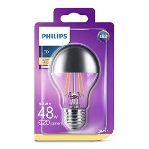 Philips Ampoule LED Standard Calotte argentée filament E27 - - 5 - 5W équivalent 48W - blanc chaud