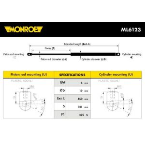 Monroe ML6123 Ressort Pneumatique Coffre/Compartiment de Charge (BG MOTORI, neuf)
