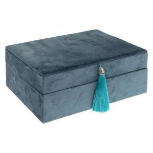 "Atmosphera Boîte à Bijoux & Miroir Velours ""Velor"" 22cm Bleu"