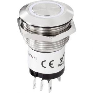 Renkforce Bouton de sonnette 1 prise 1227541 acier inoxydable, blanc 24 V DC/ 2 A, 24 V AC/ 1 A