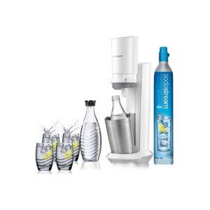 Sodastream CRYSTAL - Machine à soda Blanche avec 2 carafes et 4 verres de service