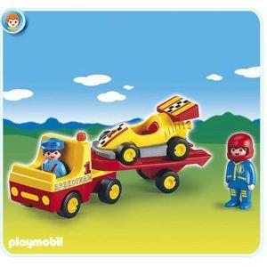 Image de Playmobil 6761 - 1.2.3 : Voiture de course avec camion de transport